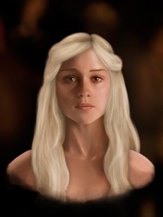 A portrait of Daenerys Targaryen of Game of Thrones, about 5/6 hours in Photoshop.    http://msierracg.tumblr.com/