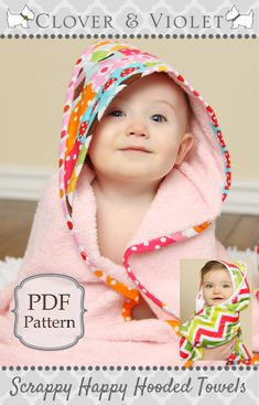 Clover & Violet — Free Patterns Scrappy Happy Hooded Towel for baby