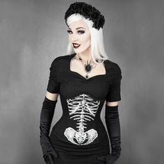 Skelet underbust zwart - Gothic