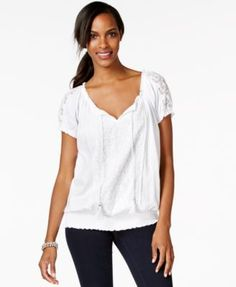 Style & Co. Short-Sleeve Lace-Trim Peasant Top, Only at Macy's
