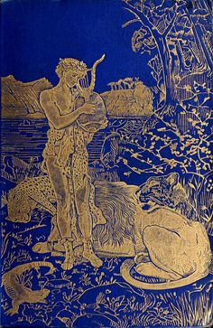 Decorative Front Cover Showing Orpheus With His Lute By H J Ford Of The Blue Poetry Book Edited By Andrew Lang With Illustrations By H J Ford And