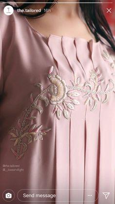 Frock Fashion, Suit Fashion, Fashion Outfits, Embroidery Suits, Embroidery Fashion, Kurti Patterns, Dress Patterns, Neckline Designs, Blouse Designs