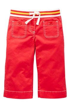 Mini Boden 'Rib Waist Sailor' Crop Trousers