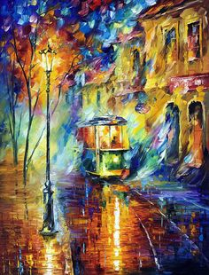 NIGHT TROLLEY - Oil painting by Leonid Afremov. One day offer - $99 include international shipping https://afremov.com/NIGHT-TROLLEY-PALETTE-KNIFE-Oil-Painting-On-Canvas-By-Leonid-Afremov-Size-30-x40-75cm-x-100cm.html?bid=1&partner=20921&utm_medium=/offer&utm_campaign=v-ADD-YOUR&utm_source=s-offer
