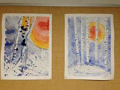 """""""Talvimaisema"""" (2.lk) 1) hanki valk. vahaliidulla, siihen kasvirankoja jne. 2) Teippaa puut ohuella maalarinteipillä. 3) Maalaa punaoranssi ympyrä, sen ympärille keltaista väriä niin iso alue kuin haluat. 4) Siveltimen pesu ja puhdas vesi. Maalaa sinisellä lopputyö. Anna kuivua hetki. 5) Irrota teippi varoen. Maalaa puun alaosaan sinistä hieman, niin että kaikki vahaliituosiot tulevat esille. 6) Maalaa kapea, haalea varjo puun rungon laitaan alhaalta ylös. 7) Maalaa juovat. (Anniina Jokinen)"""