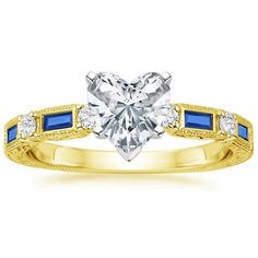 Heart Cut Vintage Sapphire and Diamond Engagement Ring - 18K Yellow Gold