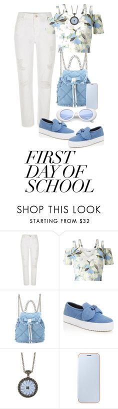 """""""Blues for School"""" by shamrockclover on Polyvore featuring River Island, Miss Selfridge, Salvatore Ferragamo, Rebecca Minkoff, Marc and Samsung"""