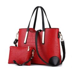 2017 Women Handbag Leather Hand Bag Michael Crocodile Crossbody Bag Messenger Shoulder Bags Clutch Tote+Purse 2 Bags/Set