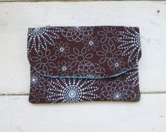Fabric Wallet women's wallet women's gift idea velcro or snap closure ready to ship brown wallet floral print cute accessory by SixthandDurianGifts