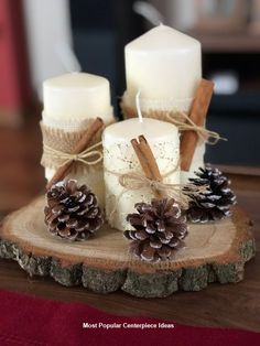 70 simple and popular christmas decorations table decorations christmas candles diy christmas centerpiece christmas crafts christmas … Homemade Christmas Decorations, Diy Christmas Ornaments, Christmas Themes, Thanksgiving Decorations, Simple Christmas Crafts, Christmas Decorating Ideas, Christmas Decorations Diy Crafts, Rustic Thanksgiving, Thanksgiving Crafts