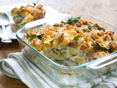 This recipe is perfect for using up stale bread since its firm texture stands up to overnight soaking. A casserole stretches expensive ingredients by using them to flavor low cost ingredients so this meal is a good value when you need to feed a holiday crowd.