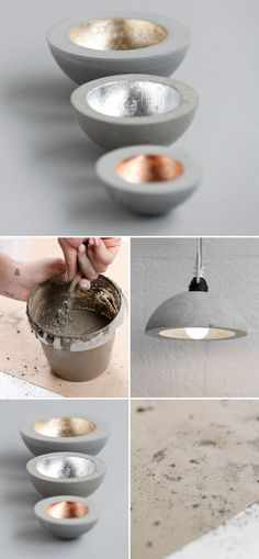 If you're looking for a DIY project this weekend, why not try your hand at concrete art? Cement Art, Concrete Crafts, Concrete Art, Concrete Projects, Concrete Design, Concrete Bowl, Luminaria Diy, Luminaire Original, Papercrete