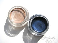 Maybelline Color Tattoo Metal 24HR Gel Cream Eyeshadows in 70 Barely Branded and 75 Electric Blue #beauty #makeup