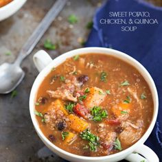 Slow Cooker Sweet Potato, Chicken, and Quinoa Soup (omit chicken, add shrimp?)