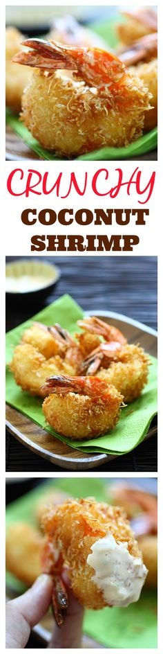 Crunchy Coconut Shrimp. The best coconut shrimp recipe ever with two secret ingredients, served with creamy tartar sauce. Super YUM | rasamalaysia.com
