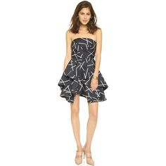 C/Meo Collective Shaken Up Dress ($245) ❤ liked on Polyvore featuring dresses, geo black, black cocktail dresses, open back dress, black pleated dress, geometric print dress and fit and flare cocktail dress