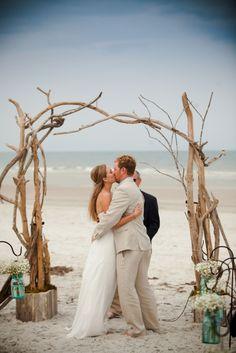 Driftwood arbor, rustic beach ceremony