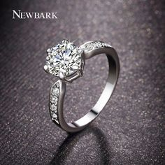 NEWBARK Brand Engagement Rings Prong Setting Round Cubic Zircon Diamond Rings…