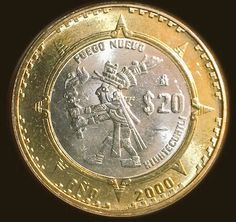 Imaguen del fuego nuevo, moneda acuñada en 2000 2001. English Coins, Coins Worth Money, Foreign Coins, Coin Worth, Gold Money, Vintage Tins, Rare Coins, Tattoo, Antiques