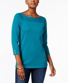 Karen Scott Boat-Neck Cotton Sweater, Created for Macy's - Tan/Beige XXL