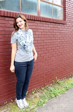 A Splash of Color Girl #fashion, #jeans, #ootd, #blog, #teeshirt #graphictee #scarf #casual