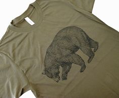 BEAR T-Shirt - Grizzly Bear California State Bear Mens UNISEX American Apparel Shirt - (Available in sizes S, M, L, XL. $18.00, via Etsy.