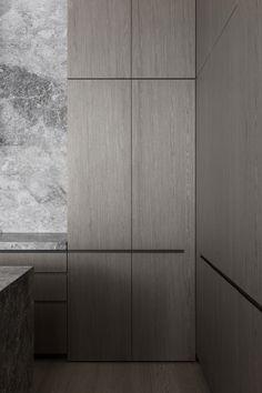 Küchen Design, House Design, Interior Design, Kitchen Pantry, Kitchen Dining, Steel Frame Doors, Venetian Plaster Walls, Pivot Doors, Minimalist Interior