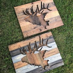 Rustic Elk Silhouette Wood Wall Art by Bayocean Rustic Design Pallet Crafts, Pallet Art, Diy Wood Projects, Wood Crafts, Woodworking Projects, Custom Woodworking, Hirsch Silhouette, Elk Silhouette, Metal Tree Wall Art
