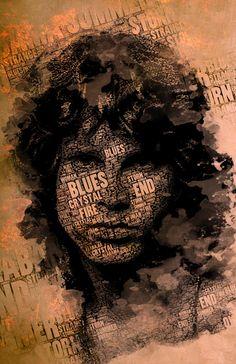 Op deze afbeelding zie je een drukwerk van Jim Morrison. Ik vind het een mooi drukwerk doordat de titels van zijn muziek over de afbeelding werden gedrukt. Ook omdat ik een fan ben van JIm Morrison