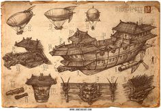 This once-retired fleet of imperial ships have been refitted with basic artillery to protect trade, diplomats, and the interests of the nobles | Imperial Convoy Chinese Steampunk Print by James Ng at Etsy