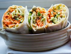 Raw Veggie Wraps -  Make More Slaw Than You Need. You'll want to make more than enough veggie slaw for your wraps or quesadilla - because it is a delicious side dish eaten alone. The tender zucchini strips paired with the crunchy sweet carrots, splash of apple cider vinegar, silky EVOO, sweet maple syrup and dash of sea salt and spicy pumpkin seeds. I found myself taking bites of the slaw even before I used it in my recipes. Spicy, sweet, refreshing, delicious! And healthy..