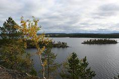View on Inari Lake - Inari – Wikipedia Finland Motorcycle Travel, Big Game, Finland, River, Mountains, Outdoor, Aurora, Language, Culture