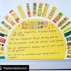 Adorable way to display classroom agreements! with ・・・ I 💛💙💚 this SO much! Thinking of doing… 3rd Grade Classroom, Classroom Rules, Classroom Behavior, Classroom Community, Kindergarten Classroom, Future Classroom, School Classroom, Classroom Themes, Classroom Organization