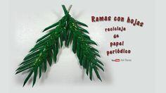 Ramas con hojas, reciclaje de papel periódico -  Branches with leaves, r...