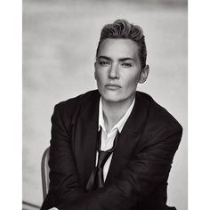 Androgynous Kate Winslet By Peter Lindbergh For L'uomo Vogue November 2015 Fashion Editor: Clare Richardson Hair: Odile Gilbert Makeup: Peter Lindbergh, Kate Winslet, The New Yorker, Photography Women, Fashion Photography, Monochrome Photography, White Photography, Portrait Photography, Editorial Fashion