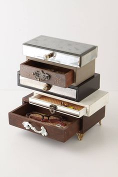 "Topsy-Turvy Jewelry Box - anthropologie.com - Mango wood, sheesham wood, MDF, iron, brass, glass, paper, ceramic Wipe with soft, dry cloth 11.5""H, 11.75""W, 6.5""D"
