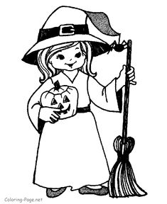 Halloween Coloring Pages - Little Witch, Jack O' Lanterns and more. Dozens of printable sheets.