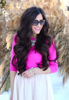 hot pink sweater, hair extensions, bellami hair extensions, nude pumps, crystal necklace, jcrew necklace, tulle skirt, cream tulle skirt, el...
