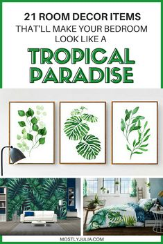 21 Items That'll Make Your Bedroom A Tropical Paradise, Home Decor, These tropical bedroom theme ideas and items are the perfect modern decor inspiration for a caribbean and hawaiian bedroom Tropical Bedrooms, Tropical Home Decor, Modern Tropical, Tropical Interior, Hawaiian Home Decor, Tropical Furniture, Tropical Colors, Bedroom Themes, Home Decor Bedroom