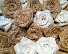 Burlap Flowers Roses Shabby Chic Wedding Decor Set of 5 NEW COLORS AVAILABLE