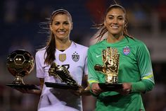 Awesome Alex with golden ball and boot Hope solo with golden glove