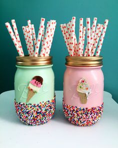 Ice Cream Party Mason Jars, Mint and Pink Ice Cream Jars - Ice Cream Birthday Party - 3 - 2nd Birthday Parties, Girl Birthday, Birthday Ideas, Birthday Lunch, 21st Party, Nye Party, Party Summer, Summer Time, Festa Baby Alive