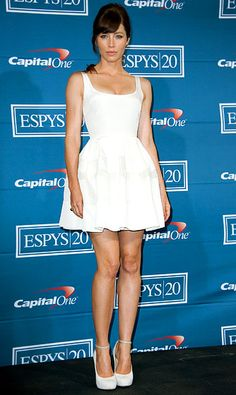July 11, 2012  Jessica Biel---Justin Timberlake's love turned heads in a Christian Dior dress and Nicholas Kirkwood for Roksanda Ilincic pumps at the ESPY Awards in L.A.          Read more: http://www.usmagazine.com/celebrity-style/pictures/jessica-biels-best-white-dresses-2012148/24341#ixzz2BayEbLUa