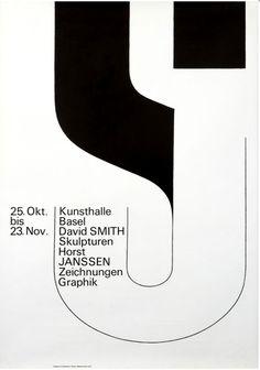 """Kunsthalle, Basel, David Smith, Horst, Janssen"". Armin Hofmann, 1966"