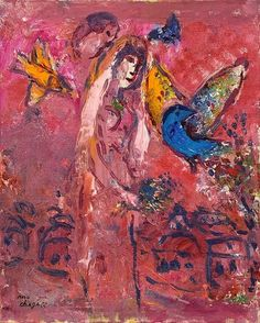Marc Chagall - La mariée sur fond rose, c. 1966. Oil on canvas mounted on cardboard