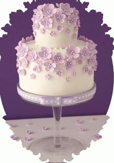 Beautiful Cake Pictures: Cute Mini Violet Cake with Ribbons - Flower Cake, Purple Cakes - Fancy Cakes, Cute Cakes, Pretty Cakes, Gorgeous Cakes, Amazing Cakes, Fondant Cakes, Cupcake Cakes, Cricut Cake, Purple Cakes