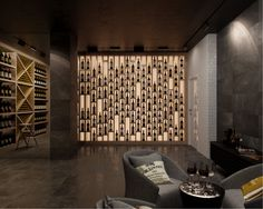 Interesting wine bottle wall display bar