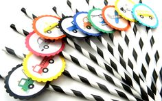 12 Transportation Vehicles Party Straws, First Birthday, Cars Theme, Transportation Birthday, All things Transportation, Vroom Vroom by thepartypenguin on Etsy