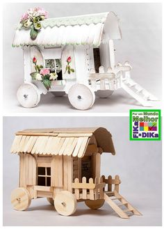 Fika a Dika - Für eine bessere Welt: Eis am Stiel - Jardin Miniature Idee Popsicle Stick Houses, Popsicle Crafts, Craft Stick Crafts, Craft Ideas, Popsicle Stick Crafts For Adults, Fairy Furniture, Doll Furniture, Dollhouse Furniture, Kids Crafts