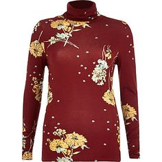 Red floral print roll neck top £20.00